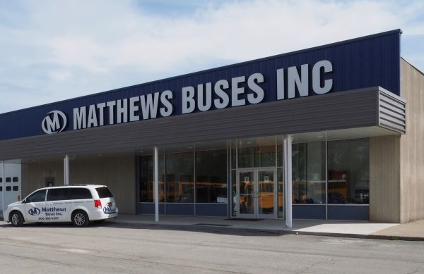 The new Matthews Buses service, parts, and training facility in western New York can accommodate work on eight full-size school buses and includes a technician training space with distance learning technology. - Photo courtesy Matthews Buses