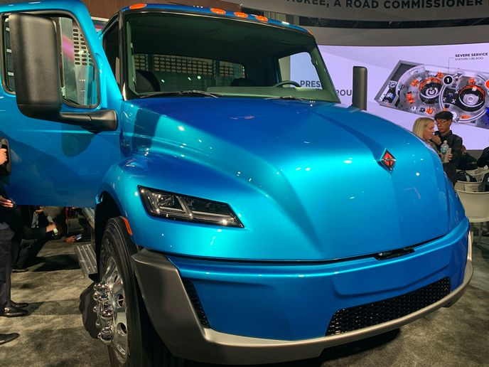 Navistar has become a member of a global association that focuses on electric vehicle adoption. The company unveiled a prototype for a battery-electric drive version of its International MV medium-duty truck, dubbed the eMV, at the North American Commercial Vehicle Show in October 2019.  - Photo courtesy Deborah Lockridge