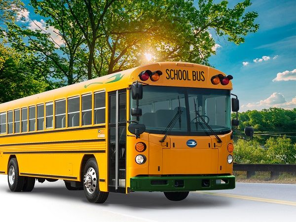 The five all-electric buses delivered to Madera (Calif.) Unified School District are the first of many Type D buses that can charge with both standard AC or DC fast charge. - Photo courtesy A-Z Bus Sales Inc.