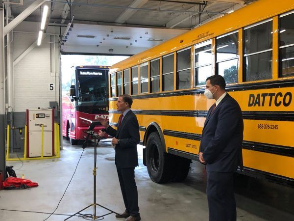 U.S. Sen. Richard Blumenthal (shown left) holds a press conference urging passage of the CERTS Act at DATTCO's headquarters in New Britain, Conn. - Photo courtesy DATTCO