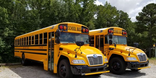 Harris County (Ga.) School District treated its two new 2021 Blue Bird buses, along with the...