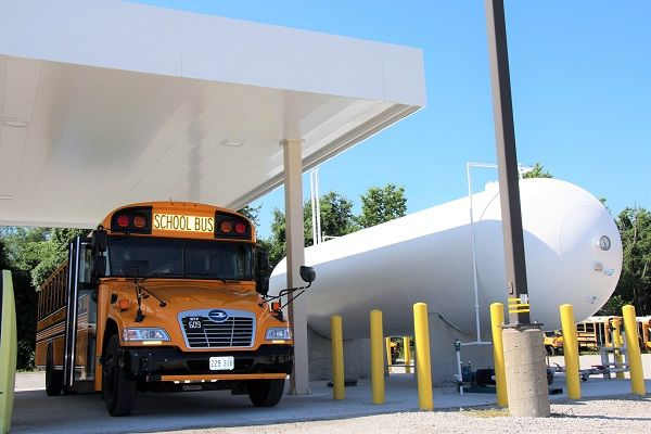 Independence (Mo.) School District anticipates a fuel cost savings of $10,000 within the first year of using its 10propane buses. - Photo courtesy Independence School District
