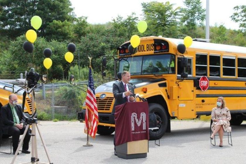The City of Manchester (N.H.) added 14 Blue Bird Propane Vision buses to its fleet. Shown here...