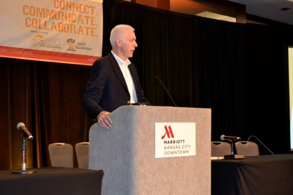 The National Association for Pupil Transportation (NAPT) has partnered with a consultancy to co-launch a new streaming service that will provide school transportation and education-related content. Shown here is Michael Martin, NAPT's executive director, speaking at the 2018 conference in Kansas City, Mo. -