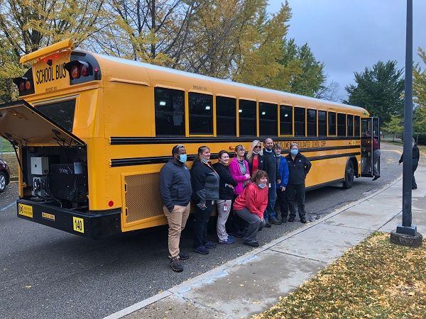 Powered by Cummins PowerDrive system, the Blue Bird electric bus for Bartholomew Consolidated School Corp. is reportedly the first vehicle-to-grid capable bus in Indiana. - Photo courtesy Blue Bird
