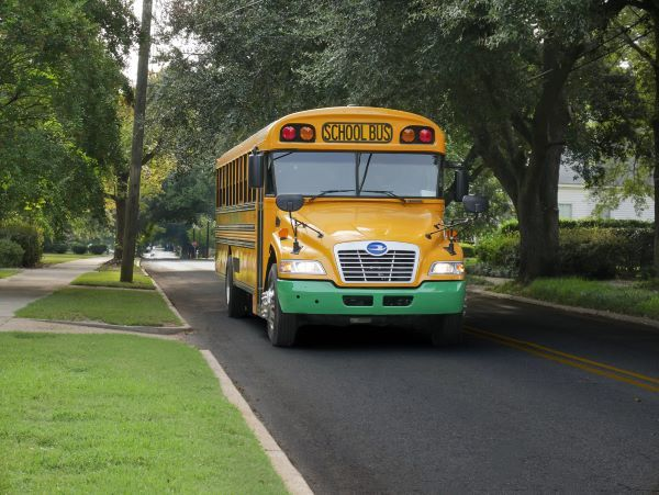 Blue Bird is hosting webinars and contests related to its alternative-power offerings throughout October. Shown here is a Blue Bird electric school bus. - Photo courtesy Blue Bird