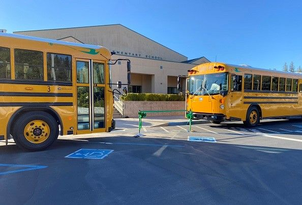 A-Z Bus Sales delivered two Blue Bird electric buses to Columbia (Calif.) Union School District as part of the state's school bus replacement plan using Volkswagen settlement funds. - Photo courtesy A-Z Bus Sales