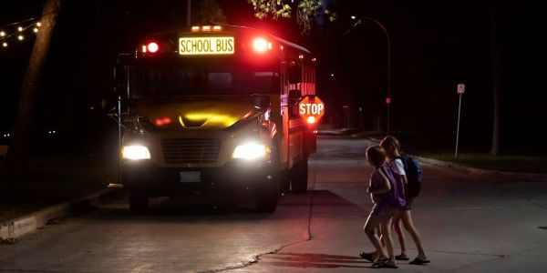Three Indiana school districts are piloting illuminated school bus signs from First Light Safety...