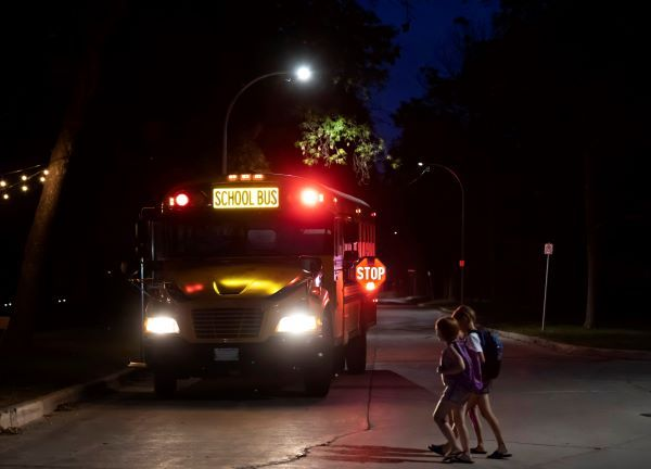 Three Indiana school districts are piloting illuminated school bus signs from First Light Safety Products. Shown here is the company's Illuminated School Bus Sign and Fully Illuminated Stop Arm. - Photo courtesy First Light Safety Products