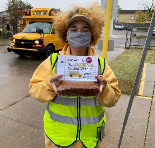 First Student hosted appreciation events at its locations across the U.S. Shown here is bus monitor Aryanna Hess, who participated in an event hosted by the school bus company's  Wichita, Kan., location. - Photo courtesy Wichita Public Schools