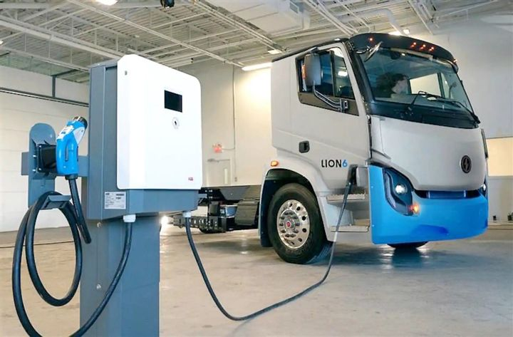 ABB's complete charging equipment product line will be sold under Lion Energy, the heavy-duty vehicle manufacturer's end-to-end infrastructure solution. Shown here is a Lion6 all-electric truck and Terra DC Wallbox ABB terminal. - Photo courtesy The Lion Electric Co. and ABB