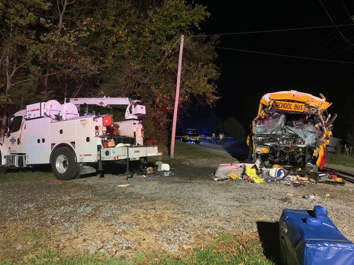 A utility service vehicle collided with a Meigs County (Tenn.) Schools buson Tuesday, killing the bus driver and a 7-year-old student on board the bus. - Photo courtesyTennessee Highway Patrol