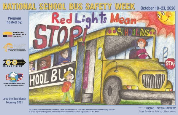 """Artwork from Bryan Torres-Tavarez, a 12th grader at Stars Academy in Paterson, N.J., was chosen to promote the """"Red Means STOP!"""" theme for National School Bus Safety Week. - Image courtesy American School Bus Council"""