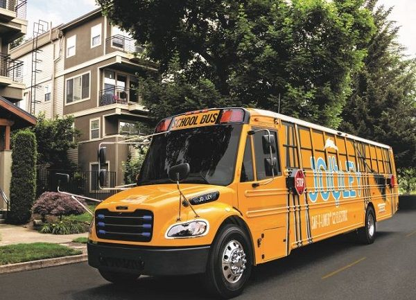 "The Saf-T-Liner C2 Jouley electric bus from Thomas Built Buses is the inaugural winner of the N.C. Chamber's ""Coolest Thing Made in N.C."" competition. - Photo courtesy Thomas Built Buses"