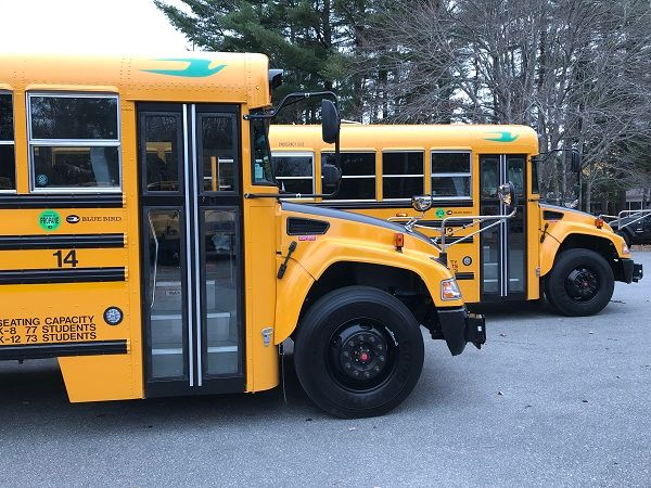 Brunswick (Maine) School Department secured $156,240 in grants from the state's Volkswagen settlement funds to purchase two Blue Bird Vision propane buses. - Photo courtesy Brunswick School Department