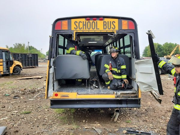 DeKalb County (Ind.) Central School District provided two of its aging diesel buses to the Auburn Fire Department for vehicle extrication practice. - Photo courtesy Doug Cox, Auburn Fire Department