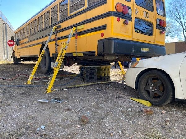 Durham School Services providedone of its decommissioned buses to a Missouri fire department for extrication practice. - Photo courtesy Durham School Services