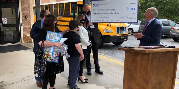 South Carolina seventh-grader Jack Kendrick (shown center) is honored by the Propane Education...