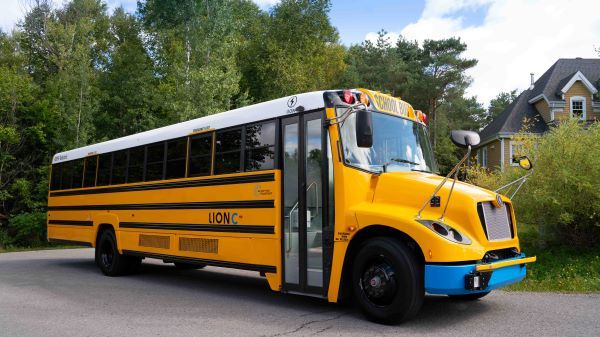 The Lion Electric Co. is partnering with green energy technology company Nuvve Corp. to launch vehicle-to-grid technology as a standard feature on its electric school buses. - Photo courtesy The Lion Electric Co.