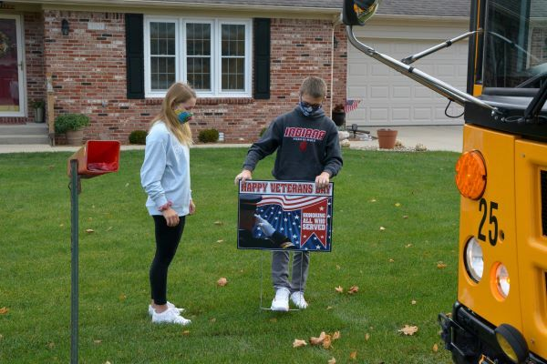 Shelby Eastern Schools in Shelbyville, Ind., used Transfinder's Routefinder Pro program to create an efficient route to help students deliver 40 yard signs to honor veterans. - Photo courtesy Katrina Falk