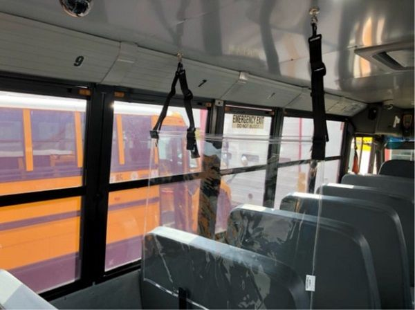 The Zone Defense Panel from BESI Inc. is designed to separate the school bus into zones, promoting social distancing and provide an added measure of safety for bus drivers. - Photo courtesy BESI Inc.
