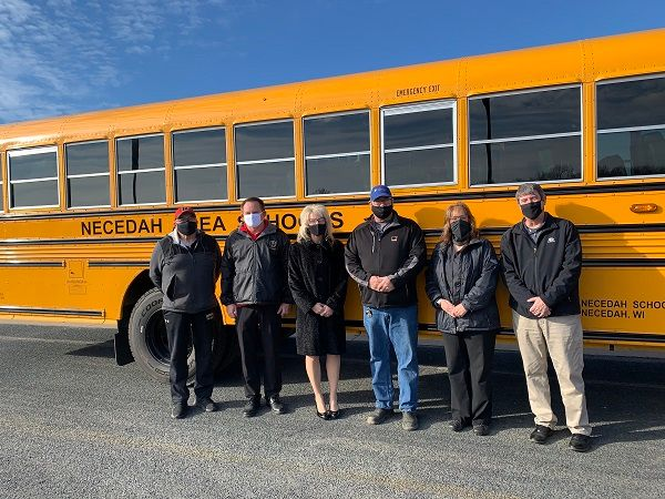 Necedah (Wis.) Schools saves nearly $5,000 a year on fuel costs with its five Blue Bird VIsion propane school buses. - Photo courtesy Roush CleanTech