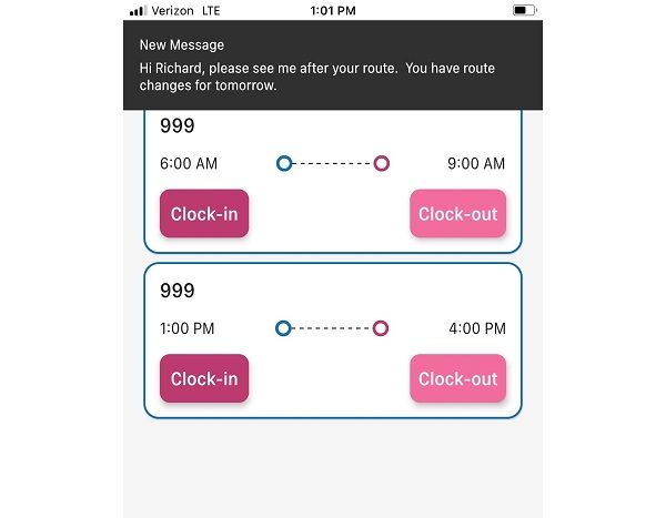 Bytecurve'sDriveOn mobile app is designed to be a daily communication tool, helping keep school transportation staff up to date on changes to routes and schedules. - Screenshot courtesy of Bytecurve