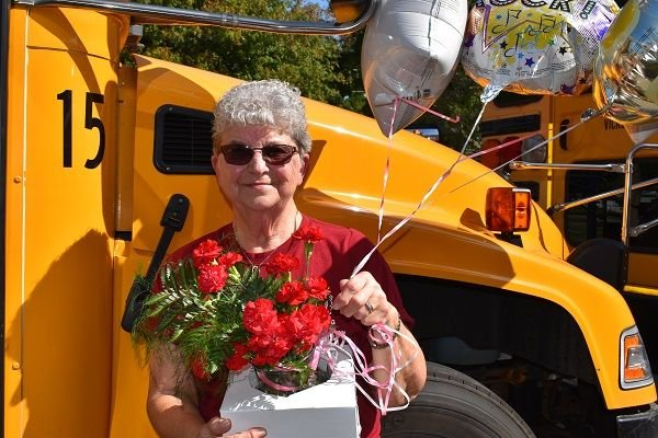 Jeri Gorsline has been a driver for Vicksburg (Mich.) Community Schools since 1971. She recently celebrated her 80th birthday. - Photo courtesy Karen McKinstry