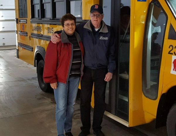 Jerry Davis, shown right with his wife Dixie Davis, retired after driving school buses for 53 years. He most recently worked for Lamers Bus Lines in Wisconsin. - Photo courtesy Jason Davis