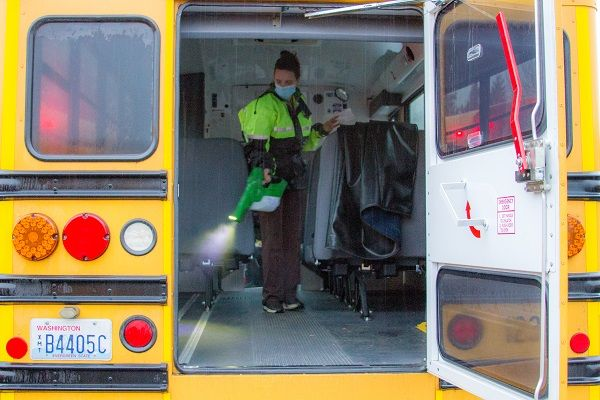 Mary Martin, one of KWRL's bus drivers, volunteered to take on the extra work of disinfecting buses at the end of each day,fogging each bus withelectrostatic sprayers. - Photo courtesy Eric Jacobson, Woodland (Wash.) Public Schools