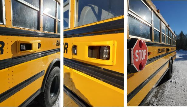 All school buses in Mattawa, Ontario, are now equipped with safety technology from BusPatrol, including stop-arm cameras to crack down on motorists who pass stopped school buses. - Photos courtesy Pierre Ranger,Let's Remember Adam– Stop for the School Bus
