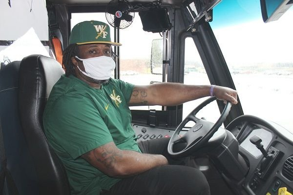 Aundres Perkins, a career specialist for Florence (S.C.) 1 Schools, is one of six district employees who has stepped up to drive a school bus amid the district'songoing driver shortage. - Photo courtesy Florence (S.C.) 1 Schools
