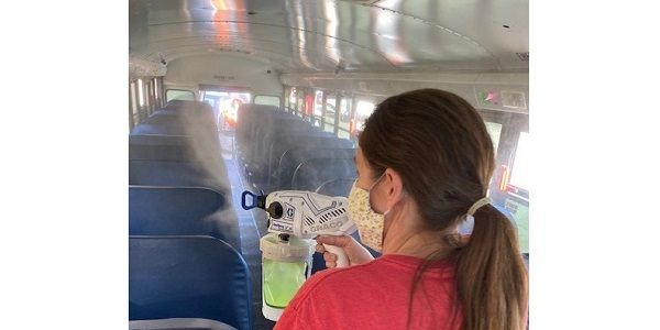 Hall County (Ga.) Schools is testing out a three-step process to clean and disinfect its buses...