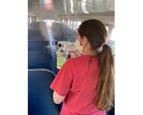 Hall County (Ga.) Schools is testing out a three-step process to clean and disinfect its buses with products from maintenance and cleaning solutions supplier Zep Corp. - Photo courtesy Clay Hobbs