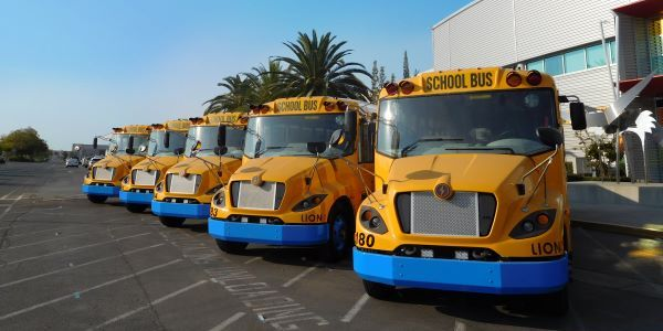 Los Angeles Unified School District has ordered 10 LionC school buses. Shown here are LionCs in...