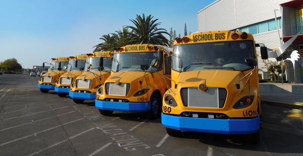 Los Angeles Unified School District has ordered 10 LionC school buses. Shown here are LionCs in Sacramento, California. - Photo courtesy The Lion Electric Co.