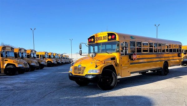 Livonia (Mich.) Public Schools purchased a total of 22 Blue Bird Vision propane school buses usinga portion of the state's Volkswagen settlement funds. - Photo courtesy Roush CleanTech