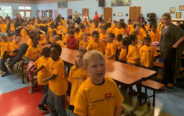 The American School Bus Council will commemorate Love the Bus month virtually this year with a celebretory video. Shown here is the 2020 Love the Bus campaign kickoff event at Orange County (Fla.) Public Schools. - Photo courtesy National School Transportation Association