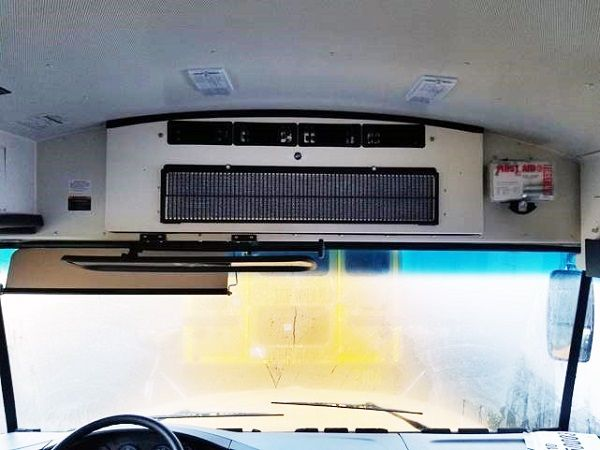 TransArctic will be stocking Mobile Climate Control's HVAC equipment at its installation facility in Tulsa, Oklahoma. Shown here is the company's Evaporator IW-1 mounted in the front bulkhead of an IC CE-series school bus. - Photo courtesy Mobile Climate Control
