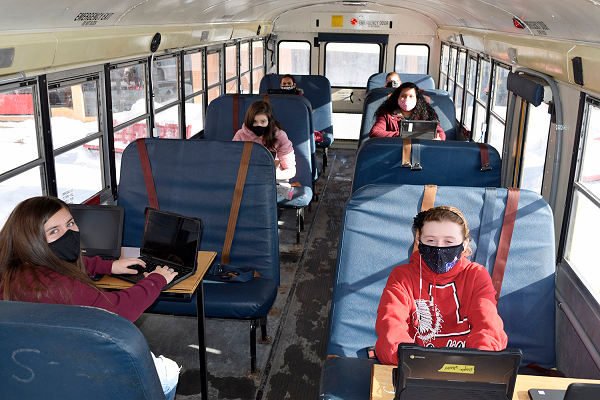 New York-based Sullivan BOCES has partnered with local community members and organizations to convert a school bus into a mobile classroom. Shown here are students from Liberty Middle School. - Photo courtesy Donna Hemmer