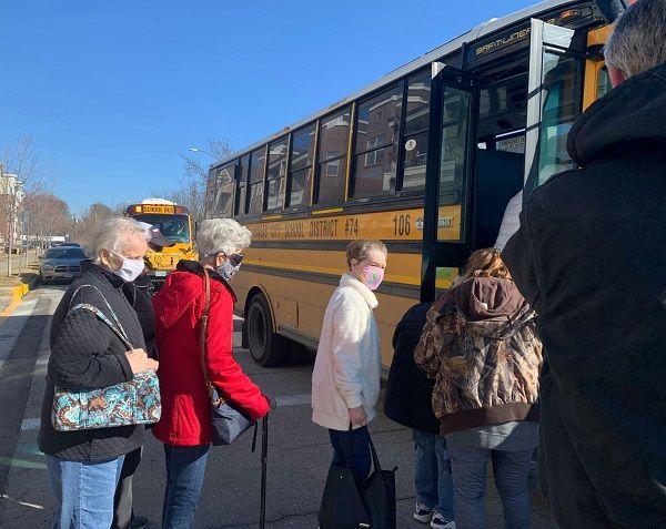North Kansas City (Mo.) Schoolspartneredwith alocal coalition called Operation Safe to transport 80 senior citizens to get their coronavirus vaccines. - Photo courtesy North Kansas City Schools