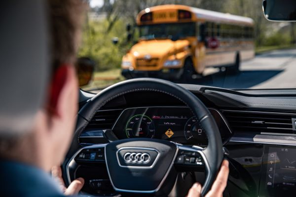 The school bus manufacturer and Fulton County Schools have partnered with Audi of America, Applied Information, and Temple Inc. to demonstrate cellular vehicle-to-everything technology to reduce vehicle hazards to schoolchildren. - Photo courtesy Stephen Averett