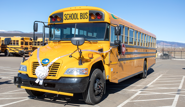 Boulder Valley (Colo.) School District welcomed its first Blue Bird Vision electric school bus to its fleet on March 4. - Photo courtesy Boulder Valley (Colo.) School District