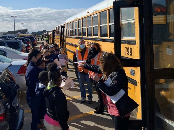 The First Student team in Wichita, Kansas, held a surprise school bus parade to lift the spirits of one of their fellow drivers, Bryant Wesley, who is currently battling stage 4 pancreatic cancer. - Photo courtesy First Student Inc.