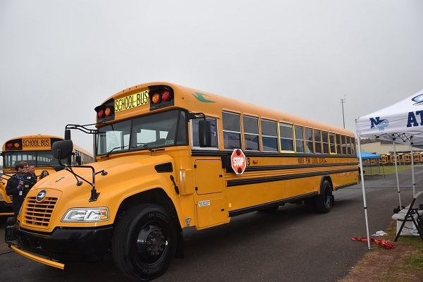 Lansdale, Pennsylvania-based North Penn School District recently added five propane school buses to its fleet. Shown here is one of the district's Blue Bird Vision propane buses during a ribbon-cutting ceremony in October 2019. - Photo courtesy North Penn School District