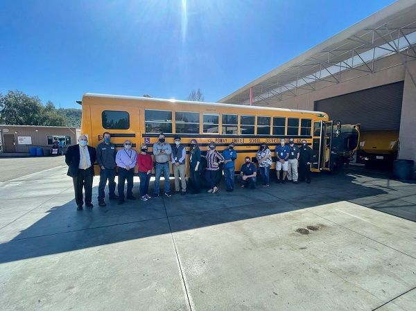 Assisting with funding, setting up delivery timelines, and providing training are just some of the ways dealers can help support school districts in rolling out electric buses. Shown here is a Blue Bird electric bus delivered to Poway Unified School District in San Diego. - Photo courtesy A-Z Bus Sales Inc.