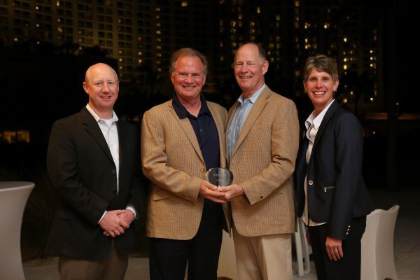IC Bus named Houston, Texas-based Longhorn Bus Sales as its 2020 Dealer of the Year. Shown here are staff members from Longhorn Bus Sales and IC Bus vice president and general manager (at right), at the 2017 IC Bus Dealer Meeting. (This year's meeting was held virtually.) - Photo courtesy IC Bus