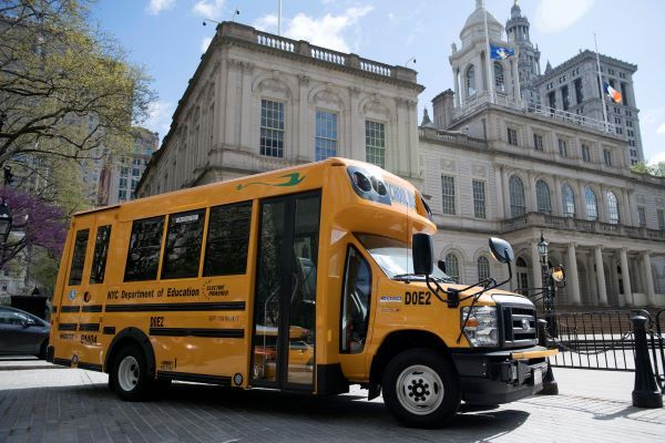 Mayor Bill de Blasio announced that all New York City school buses will be electric by 2035. Shown here is one of the city's first electric school buses. - Photo courtesy New York City Mayoral Photography Office