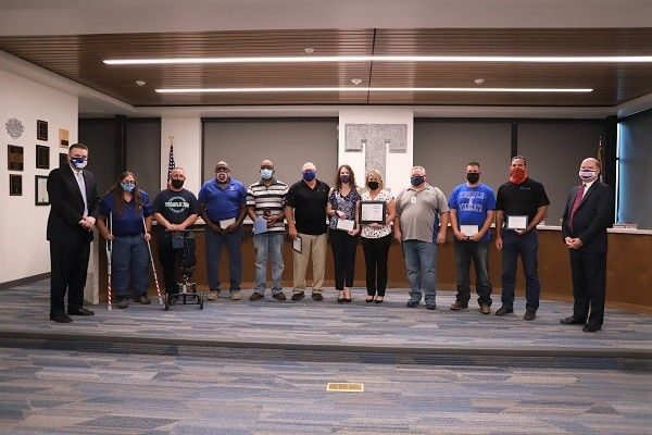 Ten members of the transportation team at Temple (Texas) Independent School District (ISD) received the district's Superintendent Leadership Award on April 12 for their help in transporting residents during an ice storm in February. - Photo courtesy Temple ISD