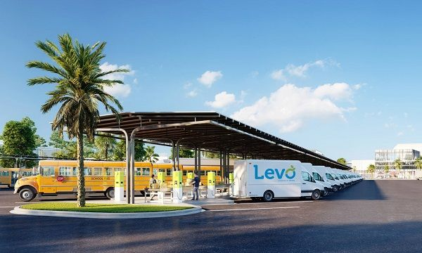 Nuvve Holding Corp. and Stonepeak Partners LP are teaming up to pursue ajoint venture, called Levo, to deploy turnkey electric vehicle charging and Transportation-as-a-Service for school buses and other commercial fleets. - Photo courtesy Nuvve Holding Corp.